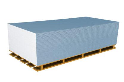 Plaque de plâtre bleue BA13 Acoustique RIGIPS Pro Aku sur palette sans écriture