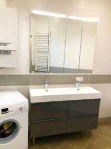 Lavabos doubles vasque & sanitaires réalisés lors d'un chantier de rénovation de Carobois